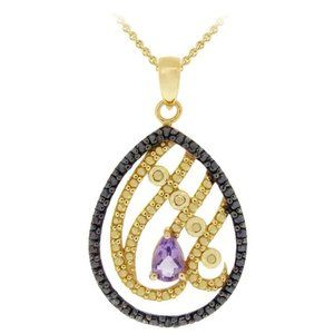 Jewelry - Genuine Amethyst 18KT Gold over Silver Necklace